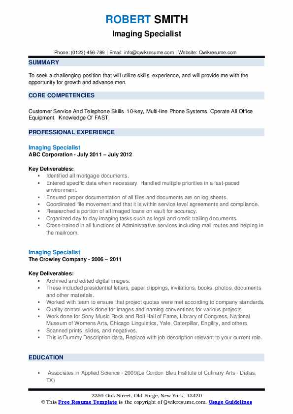 Imaging Specialist Resume example