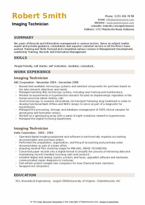 Imaging Technician Resume example