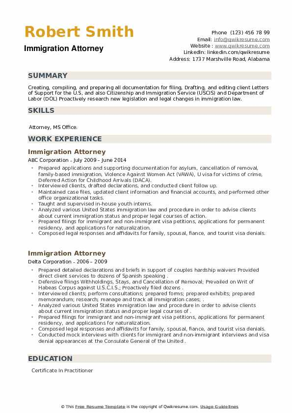 Immigration Attorney Resume example