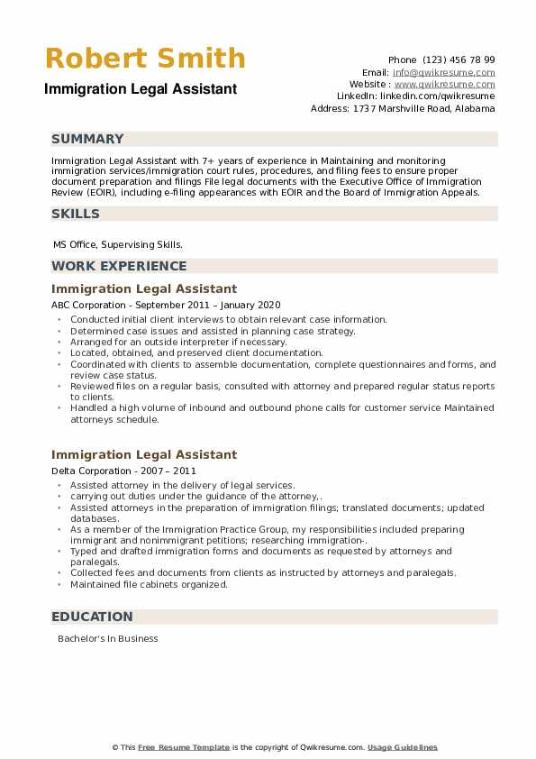 Immigration Legal Assistant Resume example