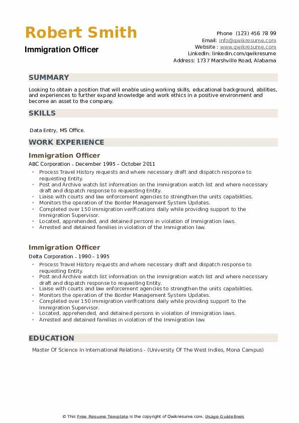 Immigration Officer Resume example