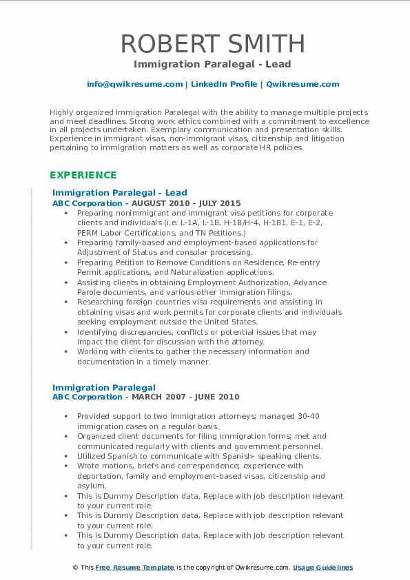 immigration paralegal resume samples  qwikresume