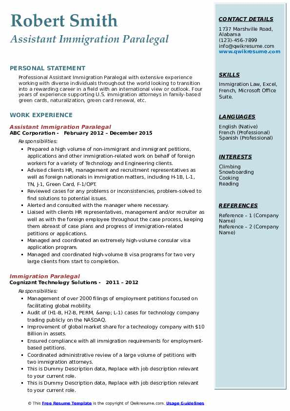 immigration paralegal resume samples