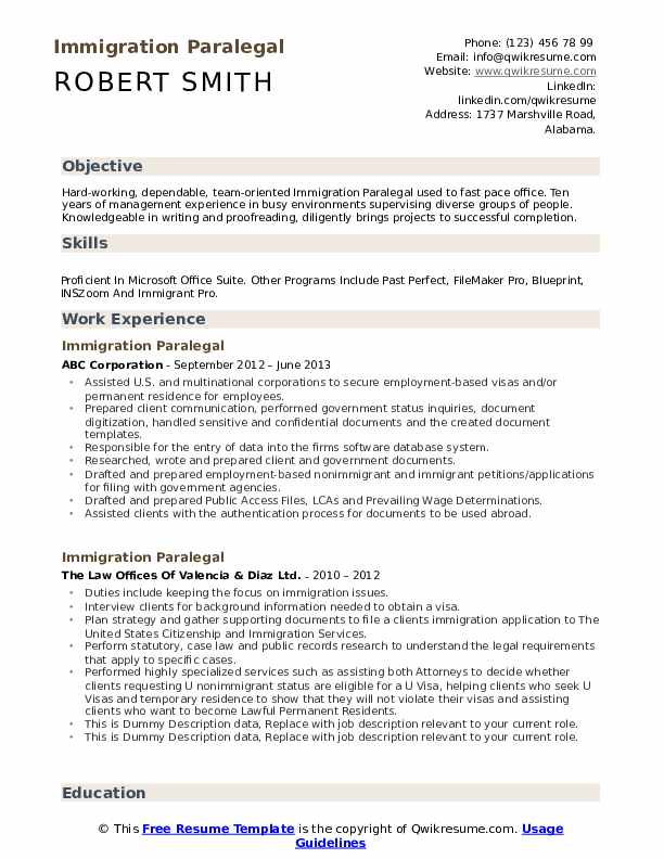 Immigration Paralegal Resume example