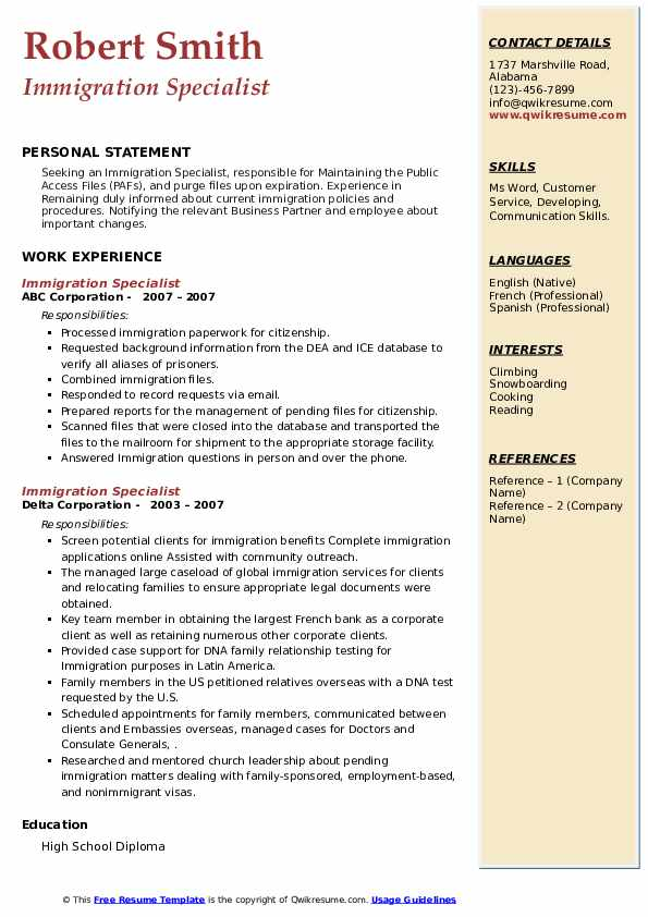 immigration specialist resume samples  qwikresume