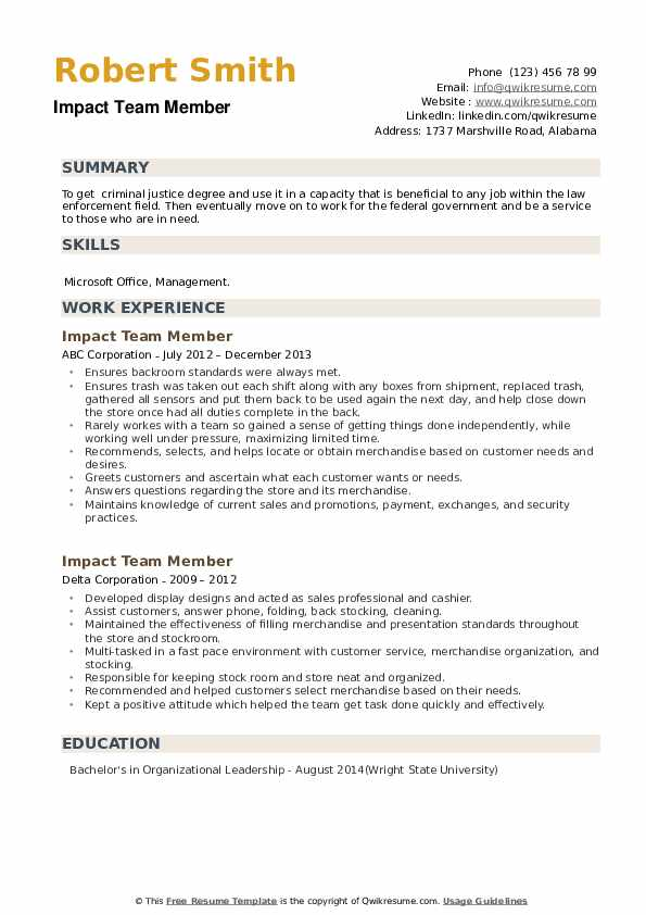 Impact Team Member Resume example