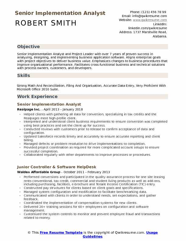 Senior Implementation Analyst Resume Template