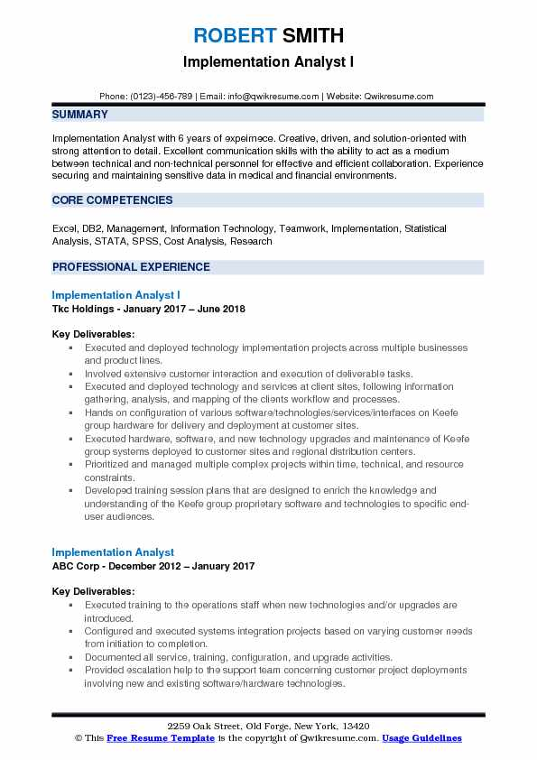 Implementation Analyst I Resume Sample
