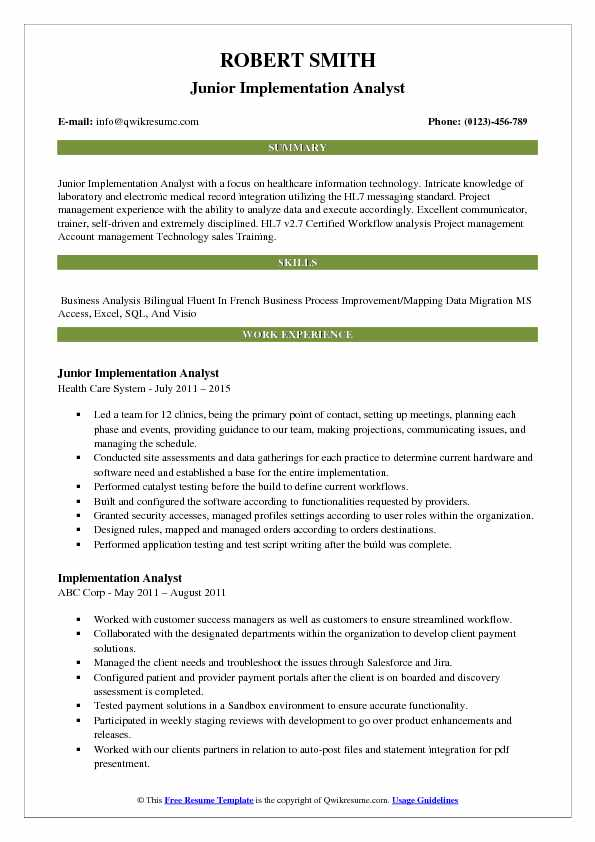 Junior Implementation Analyst Resume Sample