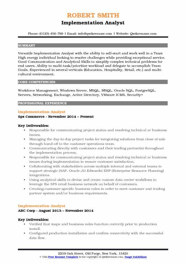 Implementation Analyst Resume Model