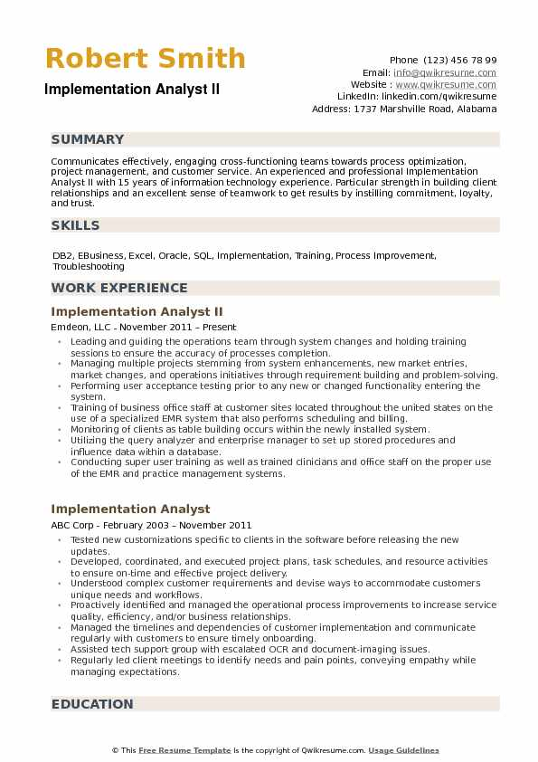 Implementation Analyst Resume example
