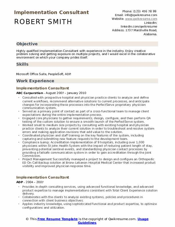 Implementation Consultant Resume Sample
