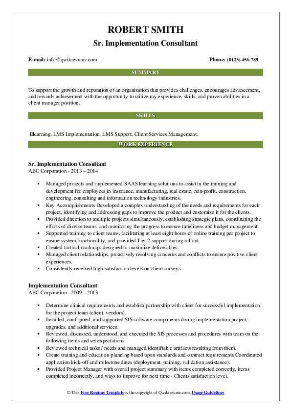 Sr. Implementation Consultant Resume Example