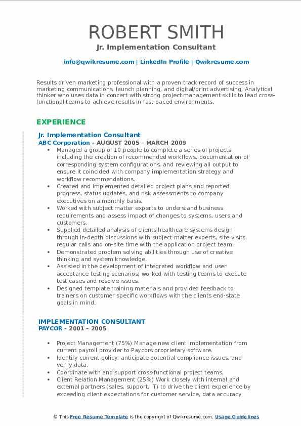 Jr. Implementation Consultant Resume Model