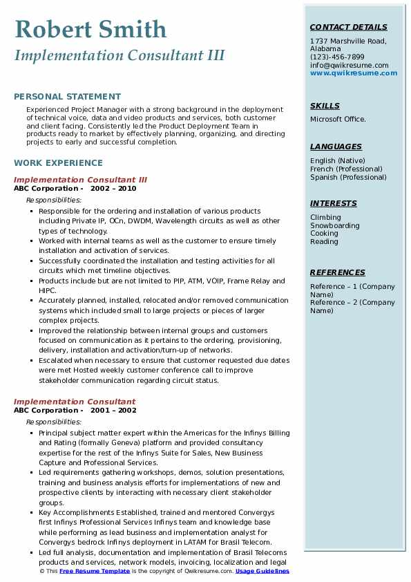 Implementation Consultant III Resume Format