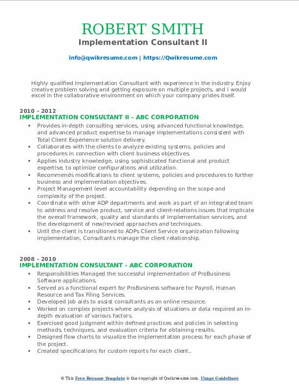 Implementation Consultant II Resume Model