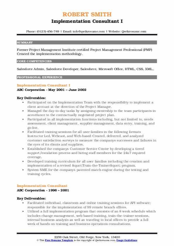 Implementation Consultant I Resume Sample