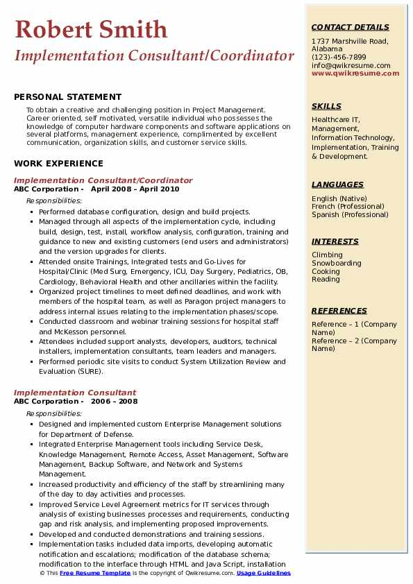 Implementation Consultant/Coordinator Resume Model