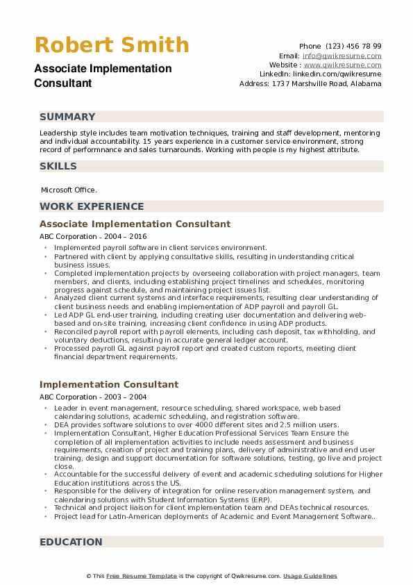 Associate Implementation Consultant Resume Format