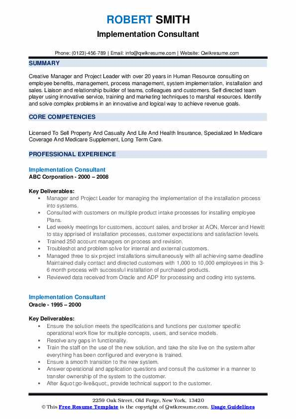Implementation Consultant Resume example