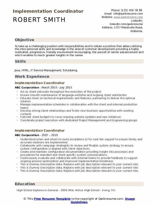 Implementation Coordinator Resume example