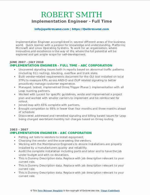 implementation engineer resume samples  qwikresume
