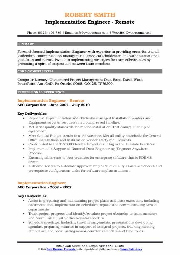 implementation engineer resume samples