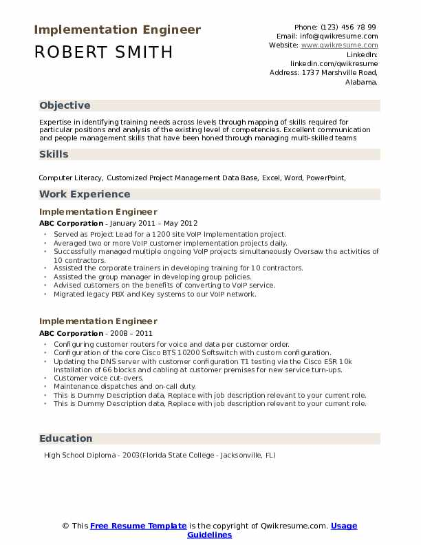 Implementation Engineer Resume example