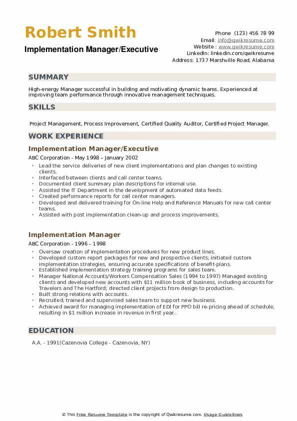 Implementation Manager Resume example