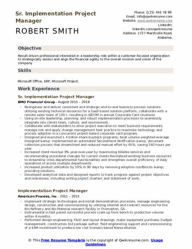 Sr. Implementation Project Manager Resume Sample