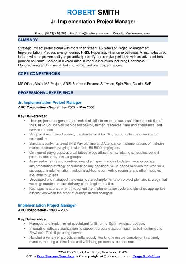 Jr. Implementation Project Manager Resume Format