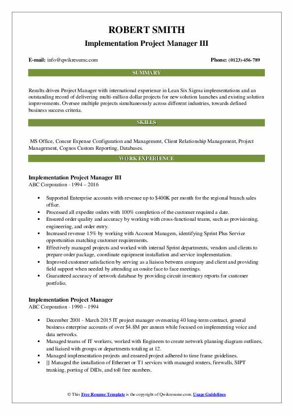Implementation Project Manager III Resume Template