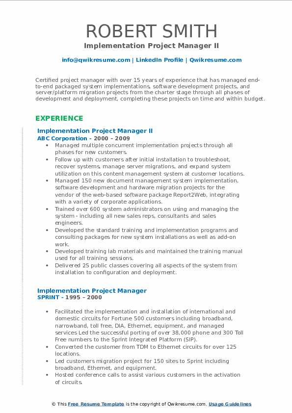 Implementation Project Manager II Resume Format