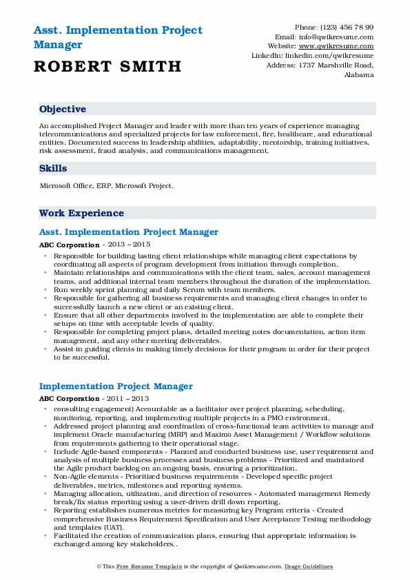 Asst. Implementation Project Manager Resume Sample