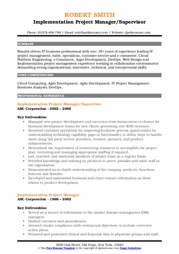 Implementation Project Manager/Supervisor Resume Format