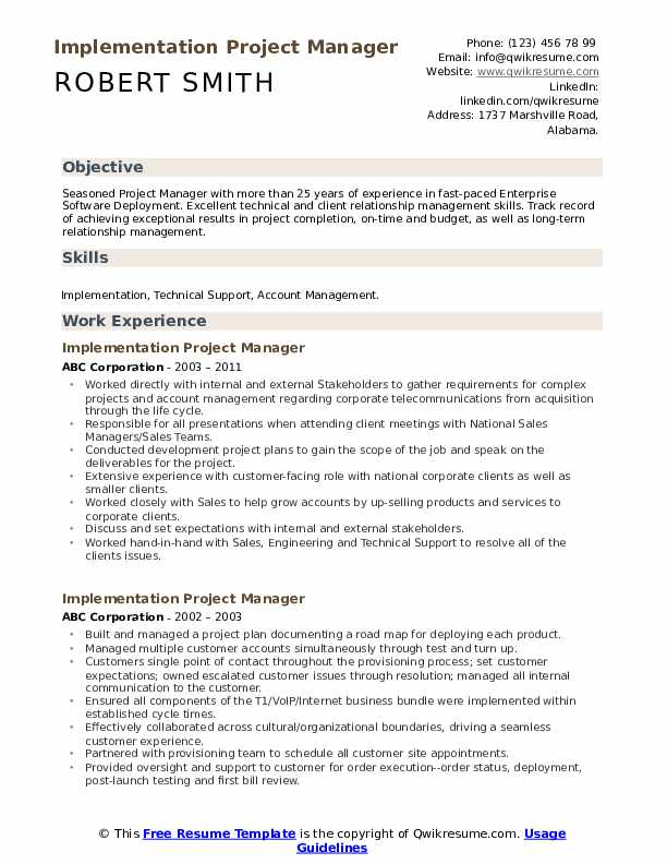 Implementation Project Manager Resume example
