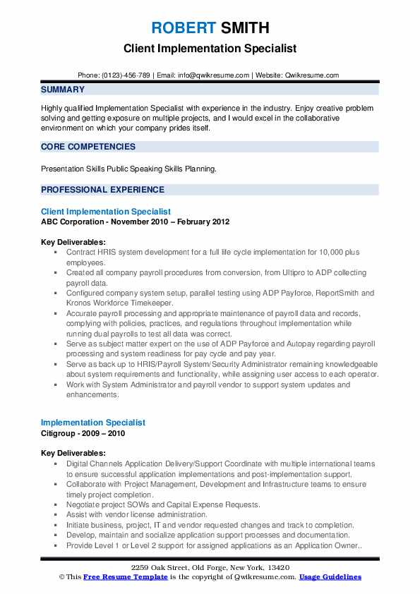 Client Implementation Specialist Resume Example