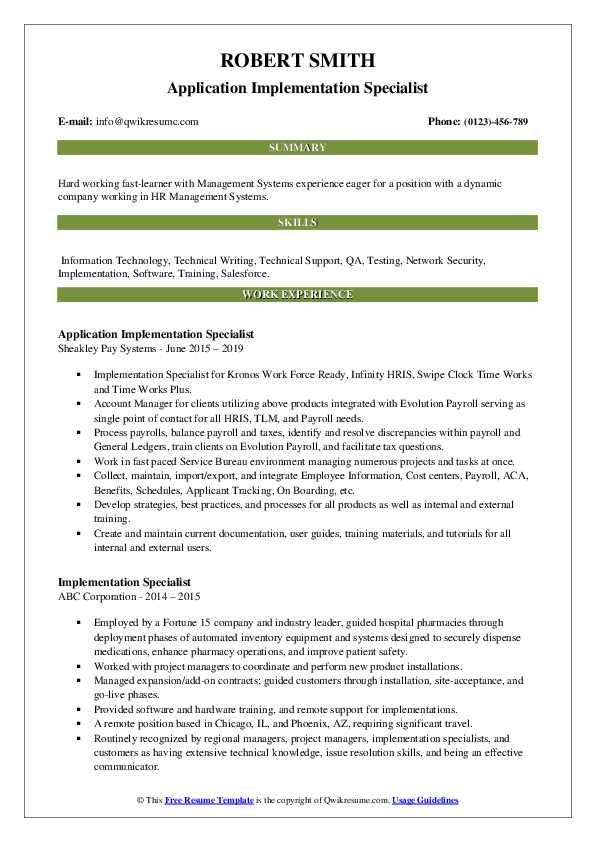 Application Implementation Specialist Resume Format