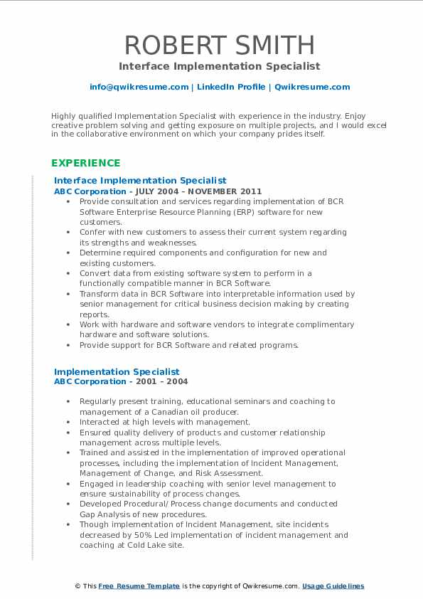 Interface Implementation Specialist Resume Sample