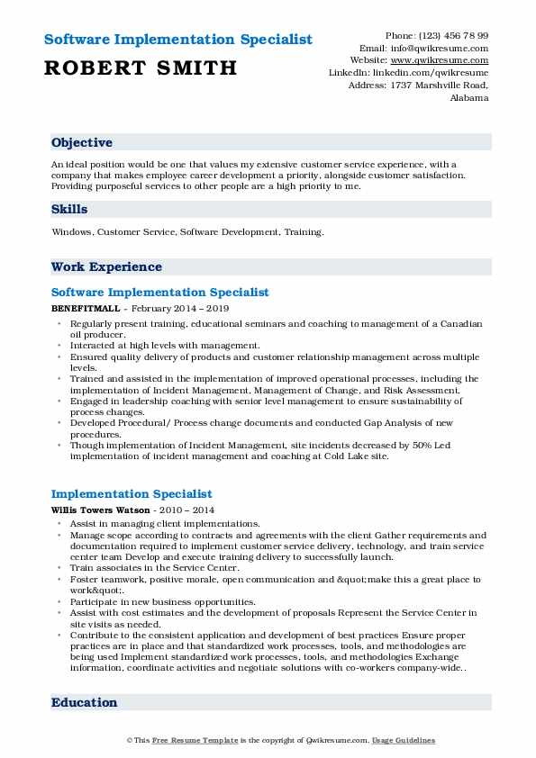 Software Implementation Specialist Resume Template