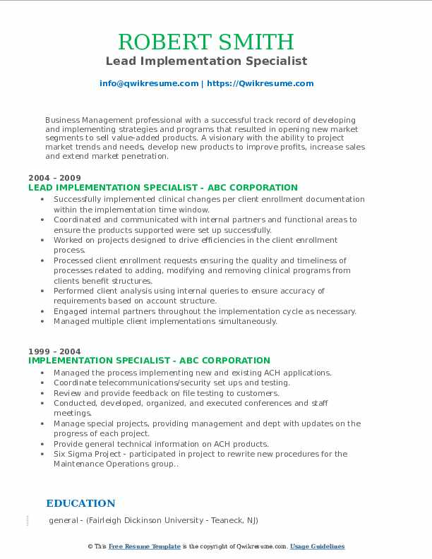 Lead Implementation Specialist Resume Template