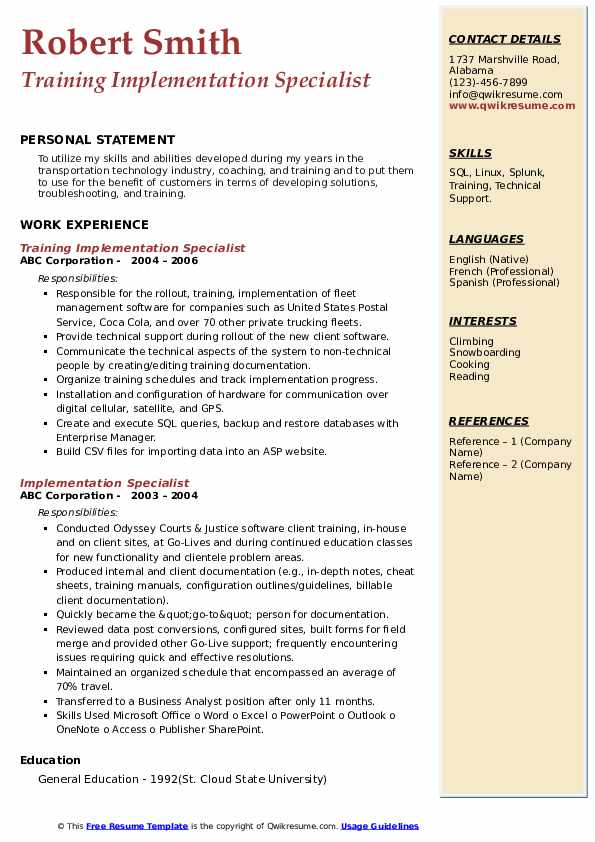 Training Implementation Specialist Resume Sample
