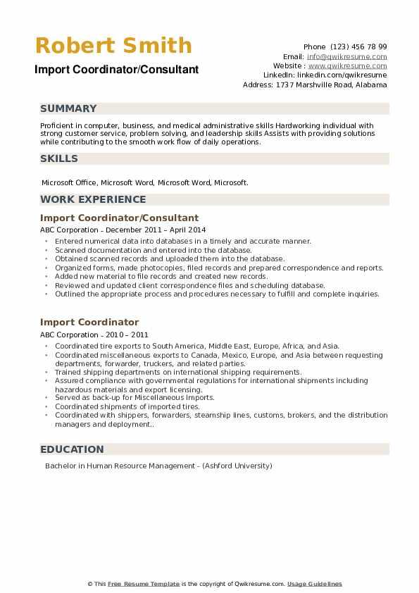 Import Coordinator Resume example
