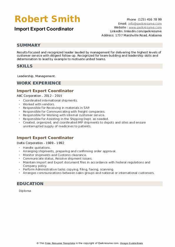 Import Export Coordinator Resume example