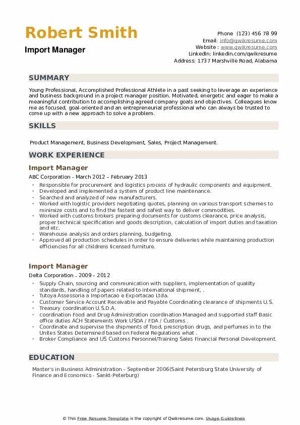 Import Manager Resume example