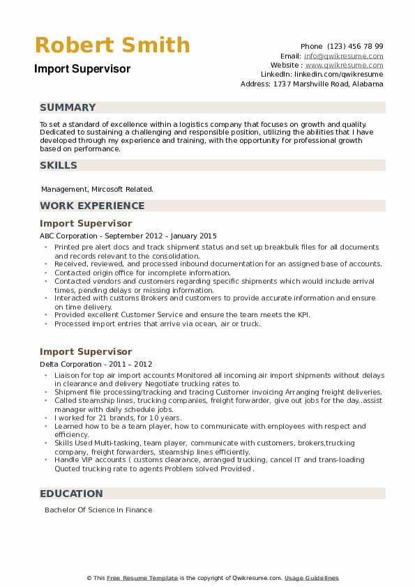 Import Supervisor Resume example