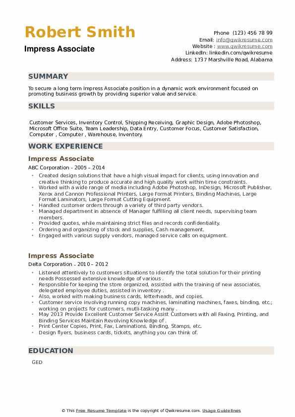 Impress Associate Resume example
