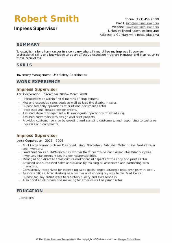 Impress Supervisor Resume example