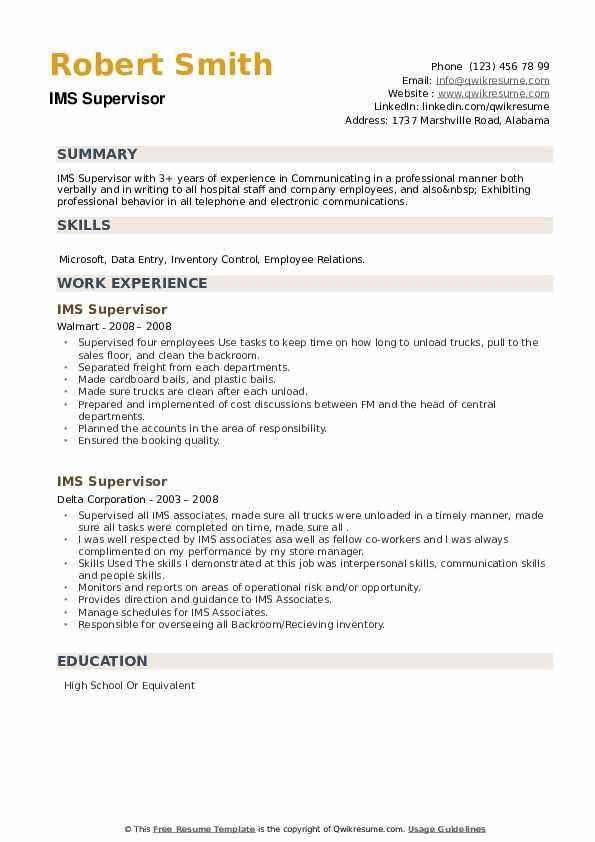 IMS Supervisor Resume example