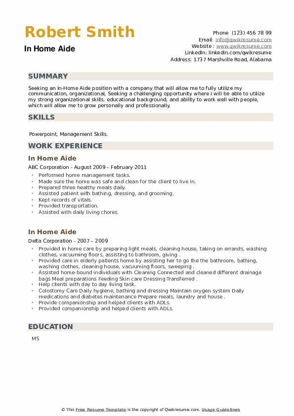In Home Aide Resume example